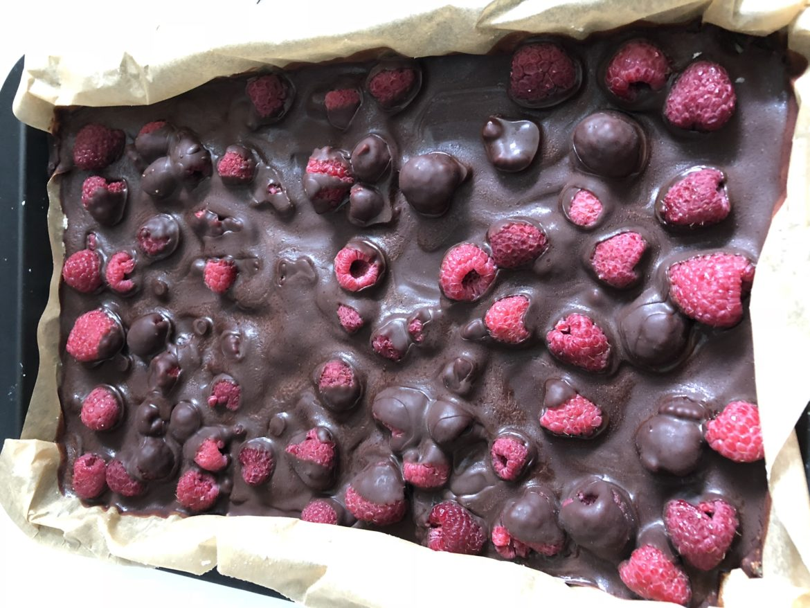 Decadent coconut, chocolate and raspberry delight